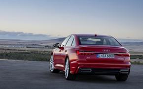 Picture red, Audi, sedan, 2018, feed, four-door, A6 Sedan