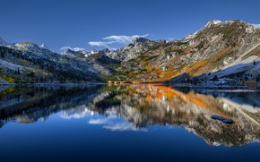 Picture mountains, lake, reflection, CA, California, Sierra Nevada, Sierra Nevada, Lake Sabrina, Lake Sabrina