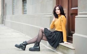 Picture look, skirt, shoes, piercing, the door, brown hair, legs, sweater, Elisa