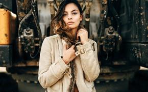 Picture look, pose, model, portrait, makeup, hairstyle, brown hair, beauty, bokeh, fur jacket, Andreas-Joachim Lins, Sarah …
