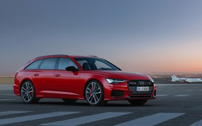 Picture red, Audi, markup, the airfield, universal, 2019, A6 Avant, S6 Before