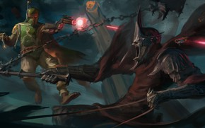 Picture fiction, Star Wars, art, nazgul, crossover, Lord of The Rings, boba fett