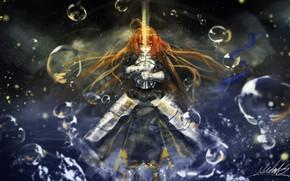 Picture girl, bubbles, sword, knight, the saber, Artoria Pendragon, Fate stay night, Excalibur, Fate / Stay …