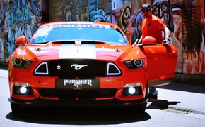 Picture Ford Mustang, muscle car, Graphity, street art