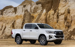 Picture white, Toyota, front, side, pickup, Hilux, Special Edition, 2019