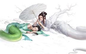 Picture Girl, Girls, Snake, White, Asian, Girl, Umbrella, Dress, Background, Fantasy, Mythology, Art, Art, Asian, Snake, …