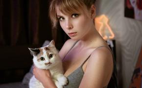 Picture cat, look, girl, face, portrait, muzzle, cat, Irina Popova, Alexander Kolbaya
