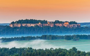 Picture mountain, Germany, haze, Königstein Fortress