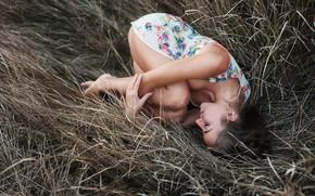 Picture brunette, dry grass, bare shoulders, feet, photo, looking at viewer, dress, Model, hairbun, legs, lying …