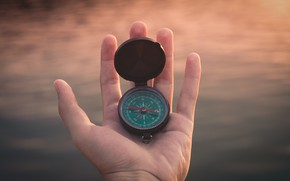 Picture hand, compass, direction, directions