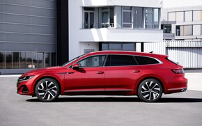 Picture red, Volkswagen, universal, in profile, Shooting Brake, R-Line, 2020, Arteon, eHybrid
