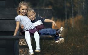 Picture children, mood, bench