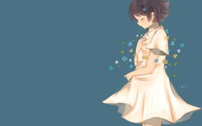Picture flowers, girl, sad