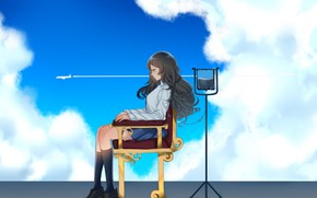 Picture roof, the sky, girl, clouds, the plane, dropper