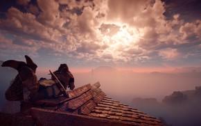 Picture The sky, Girl, Mountains, Trees, Bow, Horizon, Hunter, Sony Computer Entertainment, Guerrilla Games, Horizon: Zero …