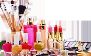 Picture perfume, lipstick, shadows, brush, cosmetics, lacquer
