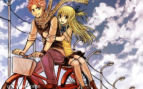 Picture love, bike, anime, art, pair, fairy tail, Fairy Tail, Lucy, Natsu Dragneel