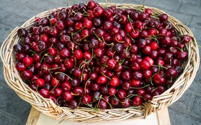 Picture cherry, berries, background, food, harvest, red, fruit, basket, network, a lot, cherry, ripe
