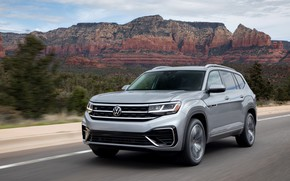 Picture Volkswagen, SUV, on the road, Atlas, 2020, gray-silver