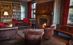 Picture interior, fireplace, library, living room, Gladstone room
