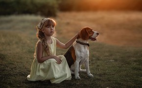 Picture dog, dress, girl, friends, Beagle, Marina Linchuk