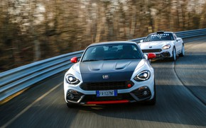 Picture white, turn, Roadster, spider, black and white, Abarth, 124 Spider, 2019, 124 Rally, Rally Tribute
