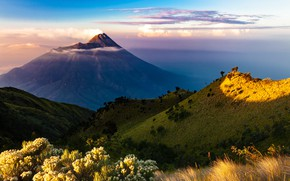 Picture sky, trees, landscape, nature, clouds, mountain, Indonesia, Java, volcano, Java island