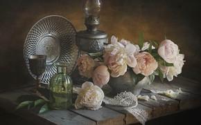 Picture flowers, Board, lamp, petals, pot, still life, lace, peonies, dish, bottle, Лионелла Зимина