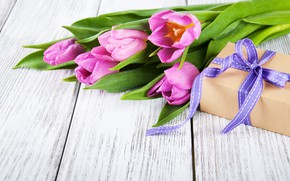 Picture table, gift, bouquet, tulips, pink, Olena Rudo