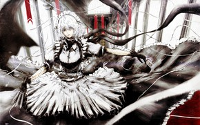 Picture Gothic, knives, the maid, Sakuya Izayoi, project East, touhou project, by Rokugats Touka