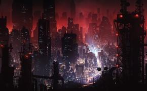 Picture night, the city, Night, Skyscrapers, Building, City, Fantasy, Megapolis, Fiction, Lighting, Concept Art, Dystopia, Metropolis, …