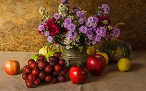 Wallpaper flowers, apples, bouquet, grapes, pumpkin, fruit, still life, vegetables, pear, flowers, fruit, grapes, still life, ...