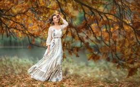 Picture autumn, girl, branches, pose, tree, mood, dress, Anastasia Barmina