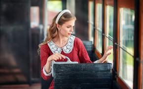Picture look, girl, pose, photo, hair, window, tram, Anastasia Barmina