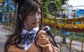Picture girl, Japanese, portrait, girl, bokeh, portrait of a girl