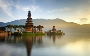 Picture forest, the sky, the sun, clouds, trees, mountains, lake, shore, Indonesia, Church, temples, Bali, Indonesia, …