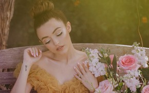 Picture girl, flowers, face, makeup, tattoo, Kathleen Lights