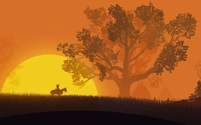 Picture fantasy, game, The Witcher, field, weapon, tree, sun, horse, digital art, artwork, warrior, swords, fantasy …
