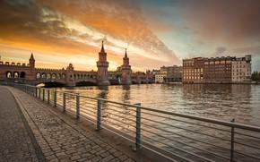 Picture bridge, the city, river, building, Germany, tower, promenade, Berlin