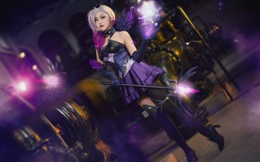 Wallpaper purple, look, energy, girl, lights, pose, style, weapons, background, magic, feet, dark, wings, technique, stockings, ...