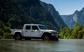 Picture white, mountains, river, SUV, pickup, Gladiator, 4x4, Jeep, Rubicon, 2019