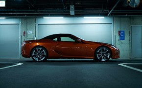Picture garage, Lexus, convertible, side view, the soft top, 2021, LC 500 Convertible