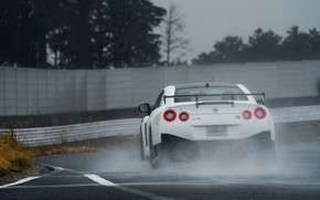 Picture white, track, Nissan, GT-R, rear view, R35, Nismo, 2019