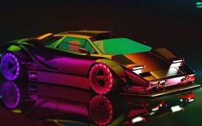 Picture Auto, Lamborghini, Neon, Machine, Car, Art, Neon, Countach, Rendering, Concept Art, Lamborghini Countach, Cyberpunk 2077, ...