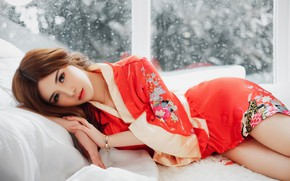 Picture look, girl, Asian, cutie, robe