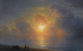 Picture landscape, picture, the evening, Ivan Aivazovsky, 1875, Sunset over the Coast of the Crimea