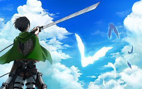 Picture clouds, guy, Attack Of The Titans, Shingeki No Kyojin, Levi