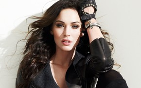 Picture look, girl, sexy, pose, Megan Fox, hair, actress, jacket, beautiful