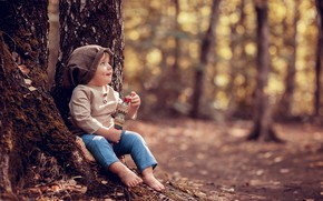 Picture child, boy, baby, nature, trees, trunks, bokeh, Dudka, autumn, Anna Ipatiev