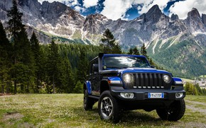 Picture forest, mountains, lights, SUV, Jeep, Wrangler Unlimited Sahara